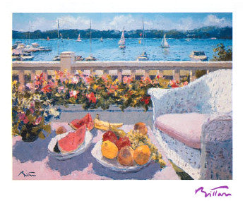 """Breakfast on the Balcony"" Impressionist Art Print by Pierre Bittar - NYGS 1995"