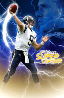 "Drew Brees ""Super Charger"" San Diego Chargers Poster - Costacos 2005"