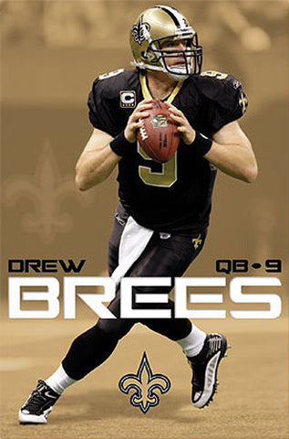 "Drew Brees ""Domination"" New Orleans Saints Poster - Costacos 2010"
