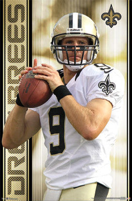 "Drew Brees ""Superstar"" New Orleans Saints NFL Action Poster - Costacos 2012"