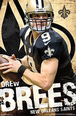 "Drew Brees ""Field General"" New Orleans Saints QB NFL Action Wall POSTER - Trends International"