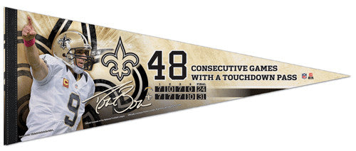 "Drew Brees ""48 Consecutive"" New Orleans Saints Premium Felt Commemorative Pennant"