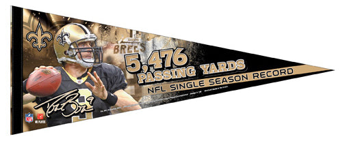 Drew Brees NFL Passing Record New Orleans Saints 2011 Premium Pennant LE/2011 - Wincraft