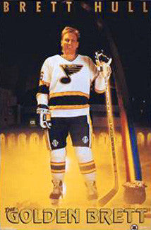 "Brett Hull ""The Golden Brett"" St. Louis Blues Poster - Costacos 1991"