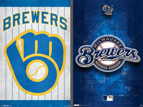 COMBO: Milwaukee Brewers Official MLB Team Logo 2-Poster Combo - Trends International