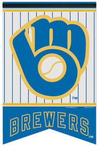 "Milwaukee Brewers ""Retro Glove"" MLB Baseball Premium Felt Banner - Wincraft"