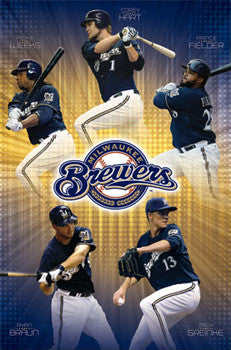 "Milwaukee Brewers ""Five Alive"" (2011) MLB 5-Player Action Poster - Costacos Sports"