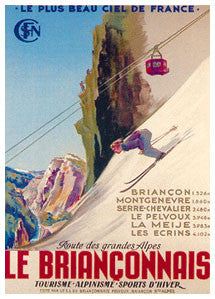 "Skiing-Climbing ""Le Brianconnais"" French Alps c.1947 Poster Reprint - Editions Clouets"