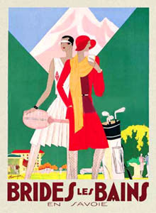 """Brides les Bains"" Vintage Tennis and Golf Travel Poster Reprint"