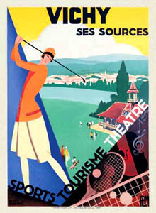 "Vintage Golf ""Vichy Ses Sources"" Art Deco Travel Poster Reprint - McGaw Graphics"