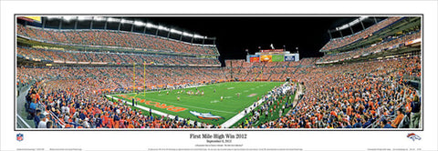 "Denver Broncos ""First Mile High Win 2012"" Panoramic Poster Print - Everlasting"