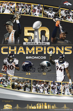 Denver Broncos Super Bowl 50 CELEBRATION Commemorative Championship Poster - Trends