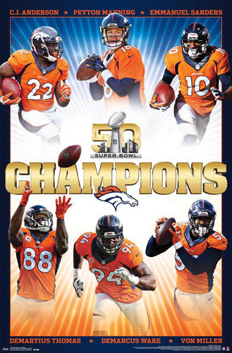 Denver Broncos Super Bowl 50 Champions 6-Player Commemorative Poster - Trends 2016