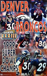 Denver Broncos Super Bowl XXXIII (1999) Champions Commemorative Poster - Starline