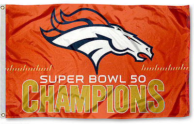 Denver Broncos Super Bowl 50 Champions Premium Felt Collector's DELUXE 3'x5' FLAG