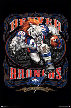 "Denver Broncos ""Grinding it Out"" Team Theme Art Poster - Costacos Sports/Liquid Blue"