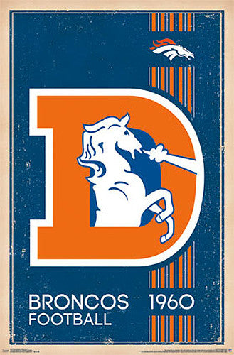 Denver Broncos NFL Heritage Series Official NFL Football Team Retro Logo Poster - Costacos Sports