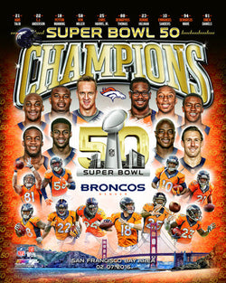 Denver Broncos Super Bowl 50 Champions 10-Player Commemorative Premium Poster Print - Photofile