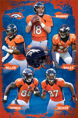 "Denver Broncos ""Super Five"" (2012) NFL Action Poster - Costacos Sports"