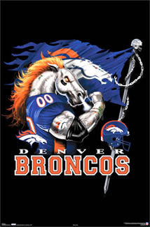 "Denver Broncos ""Ferocious"" NFL Football Theme Art Poster - Costacos Sports"