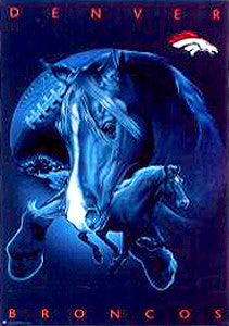 "Denver Broncos ""Stallions"" Official NFL Team Theme Art Poster - Costacos 1997"