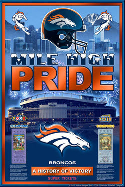 "Denver Broncos ""History of Victory"" Super Bowl XXXII-XXXIII Champions Commemorative Poster - Action Images"