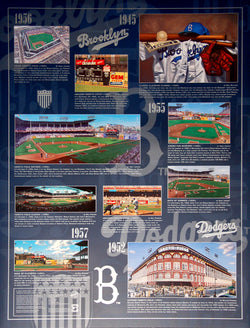 Brooklyn Dodgers Historic Art Collage (1945-57) Wall Poster - Bill Goff Inc.