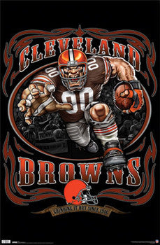 "Cleveland Browns ""Grinding it Out"" NFL Theme Art Poster - Costacos Sports"