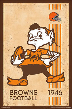 Cleveland Browns NFL Heritage Collection Retro Logo c.1946 Poster - Costacos Sports