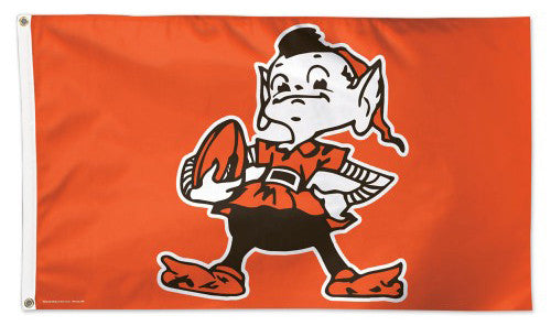 "Cleveland Browns ""Brownie"" Official Vintage Style DELUXE NFL Football 3'x5' Flag - Wincraft Inc."