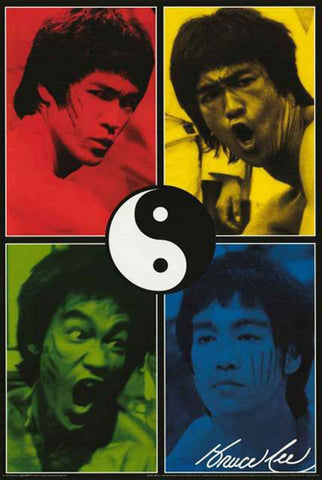 "Bruce Lee ""Yin-Yang RGBY"" Shaolin Martial Arts Poster - Aquarius Images"