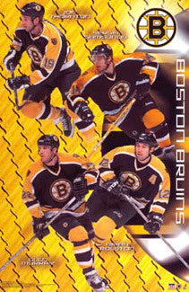 "Boston Bruins ""Four Score"" Poster (Thornton, Samsonov, Murray, Rolston) - Starline 2002"