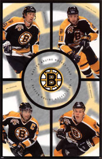 "Boston Bruins ""Center Ice"" Poster (Bourque, Thornton, Allison, Samsonov) - Costacos 1998"