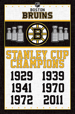 Boston Bruins 6-Time NHL Stanley Cup Champions Commemorative Poster - Trends International