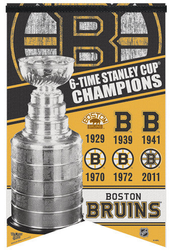 Boston Bruins Stanley Cup History Premium Felt Commemorative Banner - Wincraft