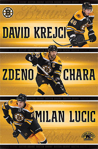 "Boston Bruins ""Three Stars"" Poster (Krejci, Chara, Lucic) - Costacos Sports 2013"