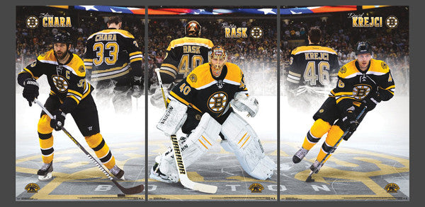 "Boston Bruins ""Center Ice Triptych"" (Chara, Rask, Krejci) 3-Poster Set - Costacos Sports"