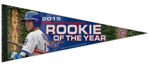 Kris Bryant 2015 NL Rookie of the Year Chicago Cubs Commemorative Premium Felt Pennant - Wincraft