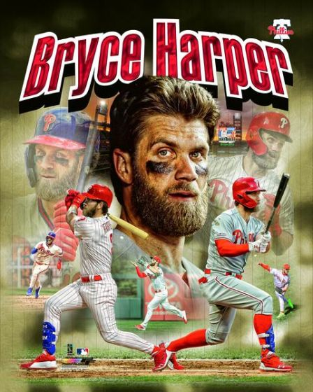 "Bryce Harper ""Power Profile"" Philadelphia Phillies Premium Action Collage MLB Poster Print - Photofile 16x20"