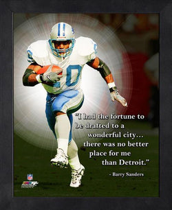 "Barry Sanders ""No Better Place"" Detroit Lions FRAMED 16x20 PRO QUOTES PRINT - Photofile"