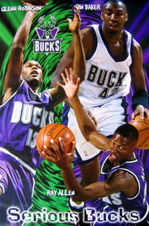 "Milwaukee Bucks ""Serious Bucks"" NBA Action Poster (1996) - Costacos Brothers"