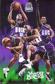 "Milwaukee Bucks ""Young Bucks"" (Allen, Robinson, Brandon) Poster - Costacos 1998"