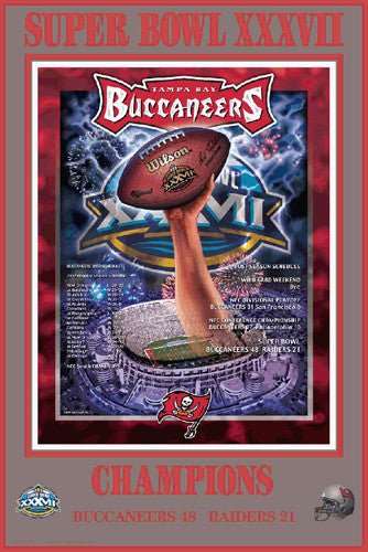 "Tampa Bay Bucs ""Super Season"" Super Bowl XXXVII Champions Poster - Action Images"