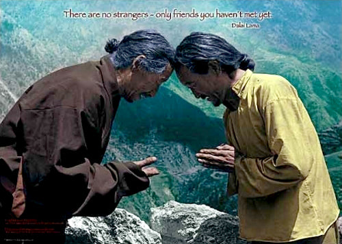 "Tibetan Wisdom ""There Are No Strangers"" Dalai Lama Buddhist Inspirational Poster - Tushita Publishing"