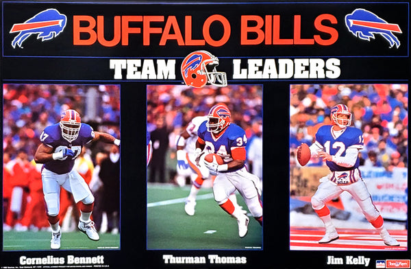 "Buffalo Bills ""Team Leaders"" Poster (Cornelius Bennett, Thurman Thomas, Jim Kelly) - Starline 1992"