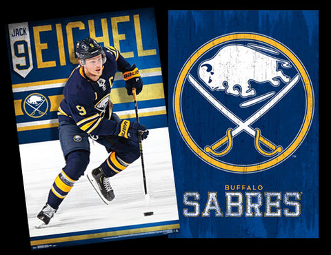 "Buffalo Sabres NHL Hockey 2-Poster Combo - Jack Eichel ""Superstar, Classic Team Logo - Trends Int'l."