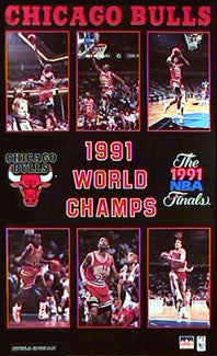 Chicago Bulls 1991 NBA Champions 6-Player Commemorative Poster - Starline Inc.