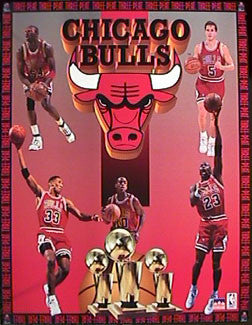 "Chicago Bulls ""Three-Peat"" (1993) Commemorative Poster - Starline 16x20"