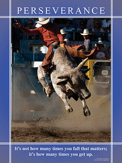 "Bull Riding ""Perseverance"" Motivational Inspirational Poster - Jaguar Inc."