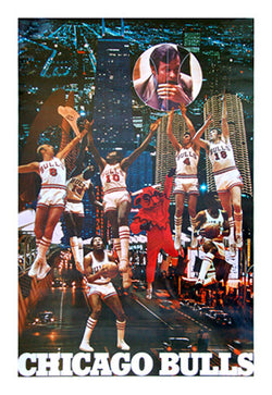 "Chicago Bulls ""Downtown"" 1972 Team Collage Poster - Vintage Original - Educational Pub's (Chicago)"
